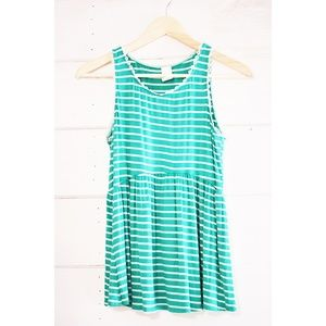 Tops - Green Striped tank top Size S